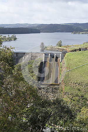 Free Dam Spillway, Myponga Reservoir, South Australia - Portrait Orie Royalty Free Stock Photo - 76776895