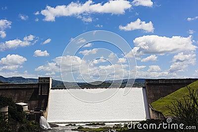 Dam Wall Water Flowing
