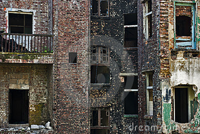 Damage in City of Industry, Ruined Brick Building