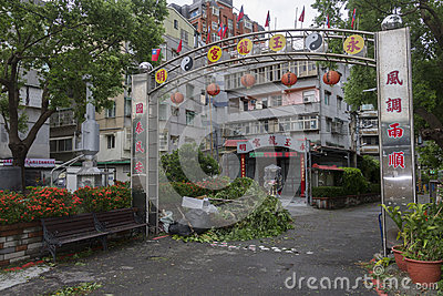 Damage done by the Typhoon Soulik to the Taipei city Editorial Stock Photo