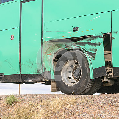 Damaged bus in morocco