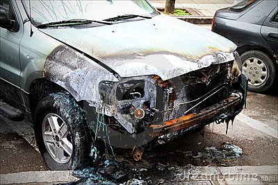Damaged car, after fire.