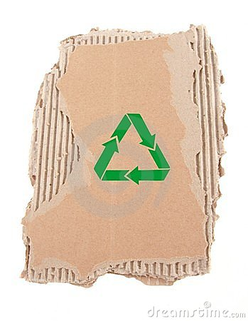Damaged cardboard with recycling symbol