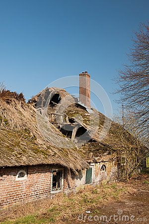 Damaged farmhouse