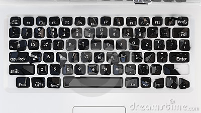 Damaged Laptop keyboard - cybercrime