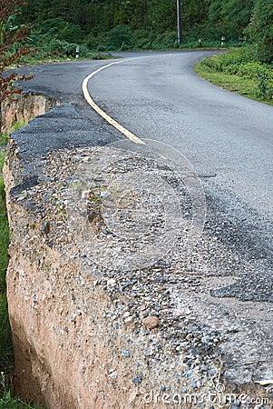 Damaged road from landslide on mountain