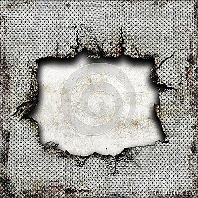 Damaged steel plate