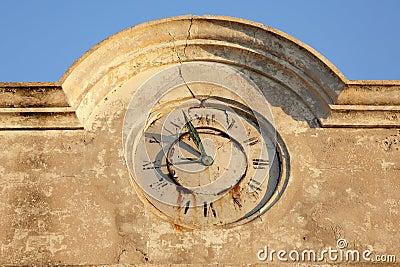 Damaged stone clock