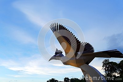 Damai Beach hornbill statue landmark Editorial Photo