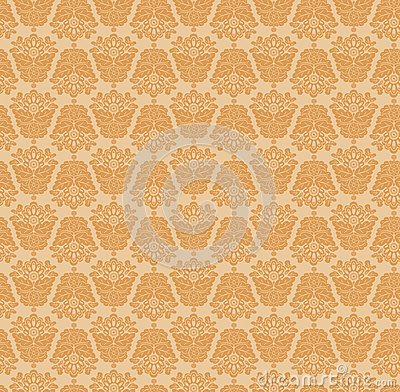 Damasc Seamless Background. Gold and Beige