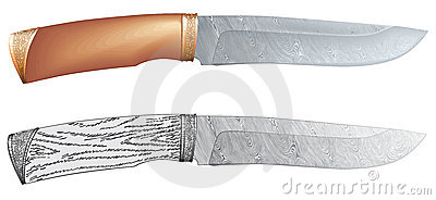 Damascus steel hunting knife vector