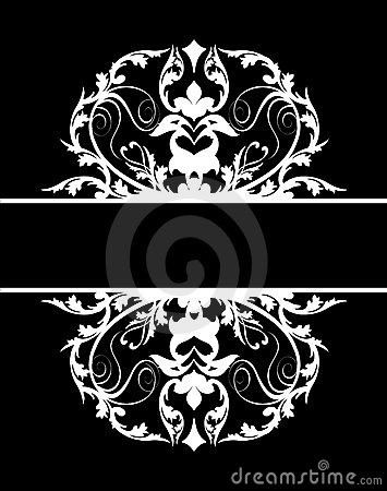 Damask banner white black