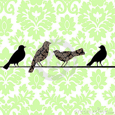 Damask Birds Green