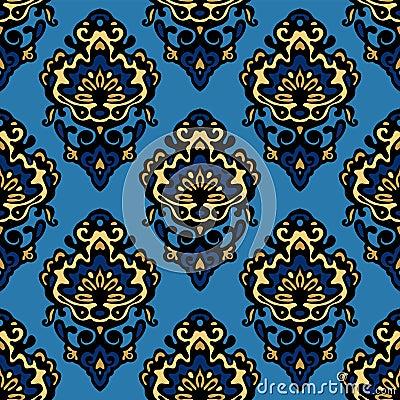 Damask blue flower seamless patter vector