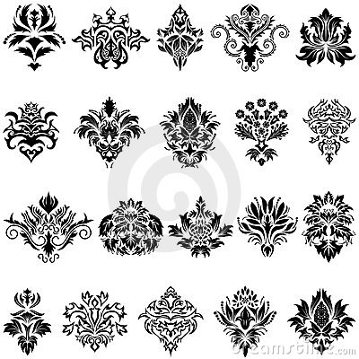 Free Damask Emblem Set Royalty Free Stock Images - 11721279