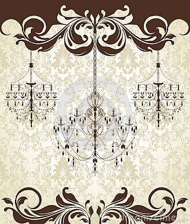 Damask invitation card with chandelier