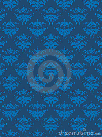 Damask Pattern Blue EPS