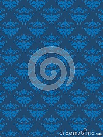 Damask Pattern Blue EPS
