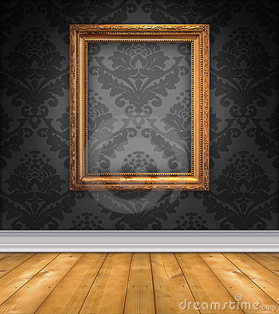 Damask Room With Empty Picture