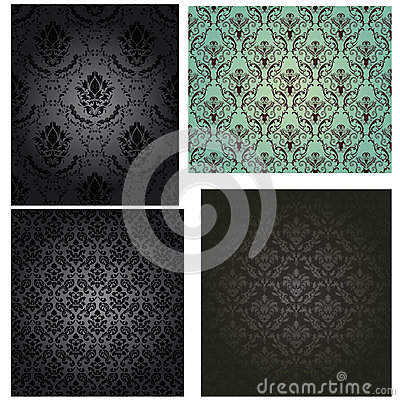 Damask seamless pattern set