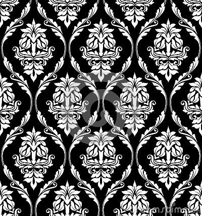 Black and white damask style design of floral arabesques in a heavy
