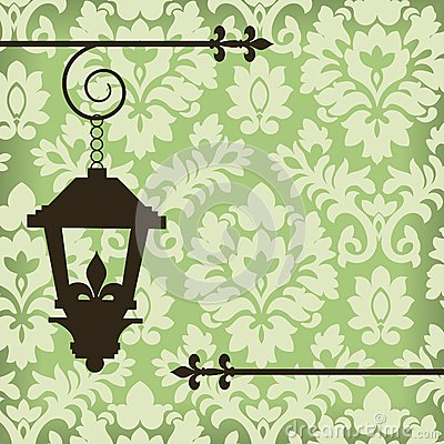 Damask with vintage lamp
