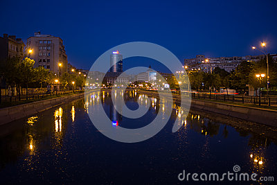 Dambovita river on nighttime Editorial Stock Image