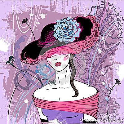 Dame in hoed met bloem