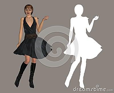 Dame in zwarte