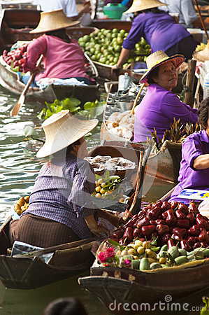 Damnoen Saduak Floating Market, Thailand Editorial Stock Photo