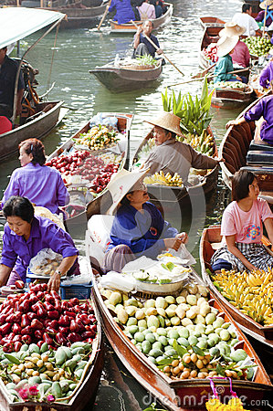 Damnoen Saduak Floating Market, Thailand Editorial Stock Photo