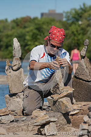 Dan Davis at Stone Balancing Festival Editorial Stock Photo