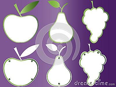 Dan fruto las placas de libro, marcos de las frutas