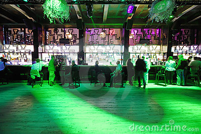 Dance floor near bar with people Editorial Stock Photo