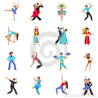 Set of color flat icons with figure people dancing vector illustration