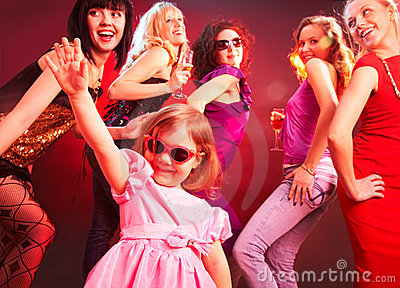 Dance little girls  on the party