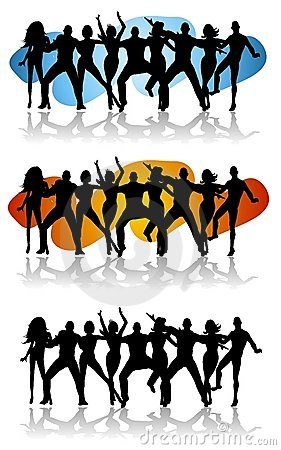 Dance Party Celebration Silhouettes