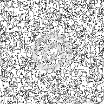 Free Dance Party Seamless Pattern In Black And White Royalty Free Stock Images - 39236039