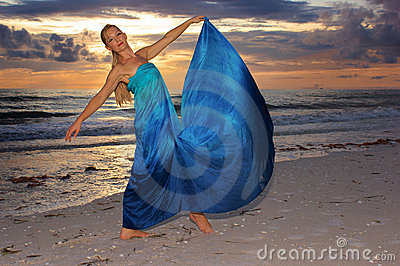 Dance pose on beach