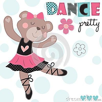 Free Dance Pretty Teddy Bear Vector Illustration Stock Photos - 78038883