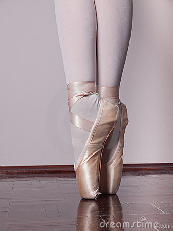 Dancer in ballet pointe shoes