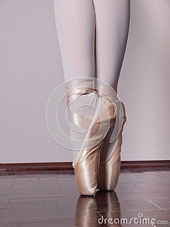 Dancer in ballet pointe shoes