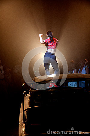 Dancer on a car Editorial Photography