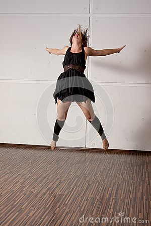 Dancer jumping during a dance