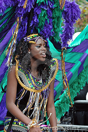 A DANCER IN THE NOTTING HILL CARNIVAL, LONDON Editorial Stock Image