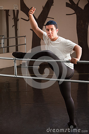 Dancer Poses on Railing