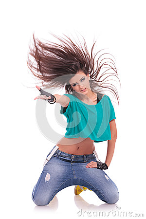 Dancer posing on her knees