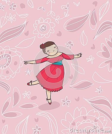 Dancer on romantic flower background