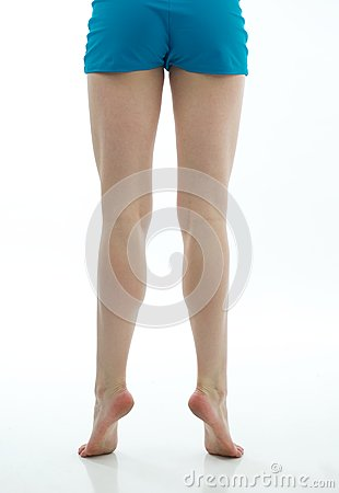Dancer s Muscular Legs with Blue Shorts