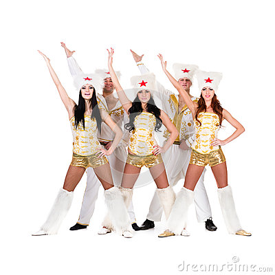Dancer team wearing a folk cossack costumes
